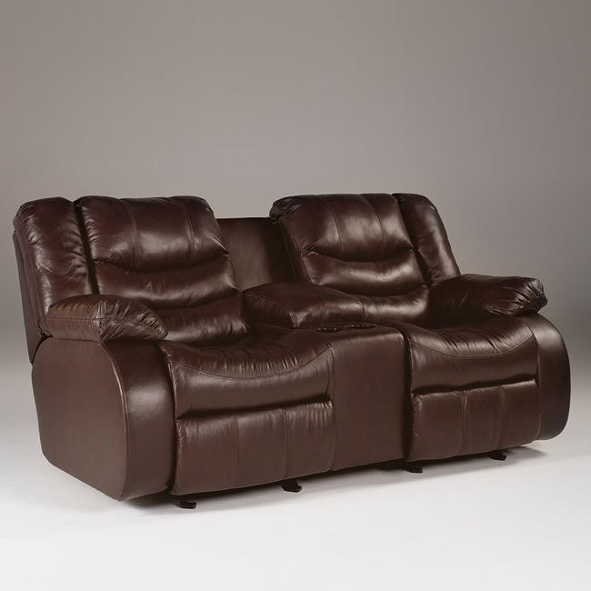 Revolution - Burgundy Double Reclining Loveseat w/ Console
