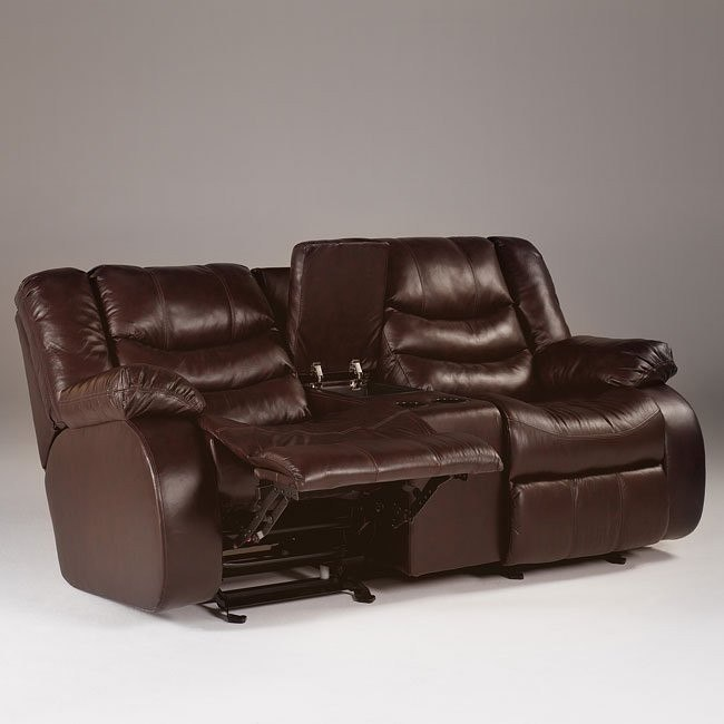 Revolution - Burgundy Double Reclining Loveseat w/ Console & Power