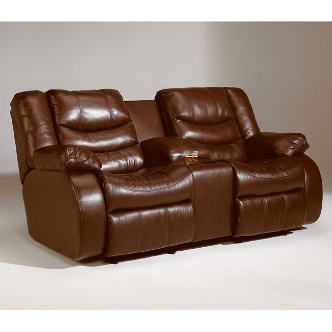 Revolution - Saddle Double Reclining Loveseat w/ Console