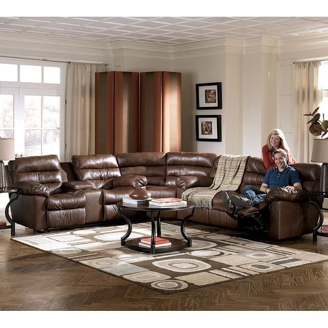 Furniture Best Ashley Furniture Memphis For Home: Brown Reclining Sectional Living Room Set By