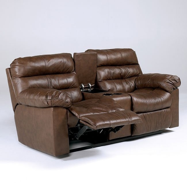 Memphis - Brown Double Reclining Loveseat w/ Console