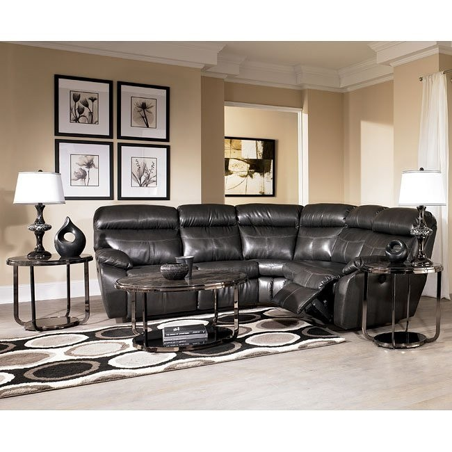 Sander Durablend - Charcoal Reclining Sectional Living Room Set