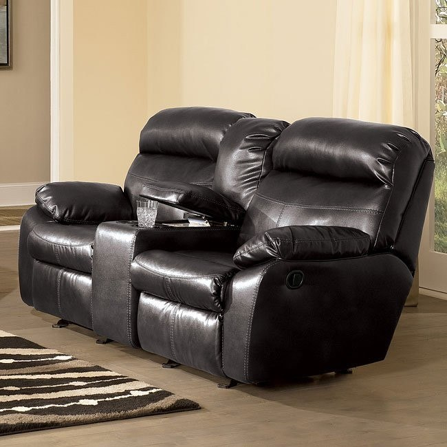 Sander Durablend - Charcoal Dual Glider Reclining Loveseat w/ Console