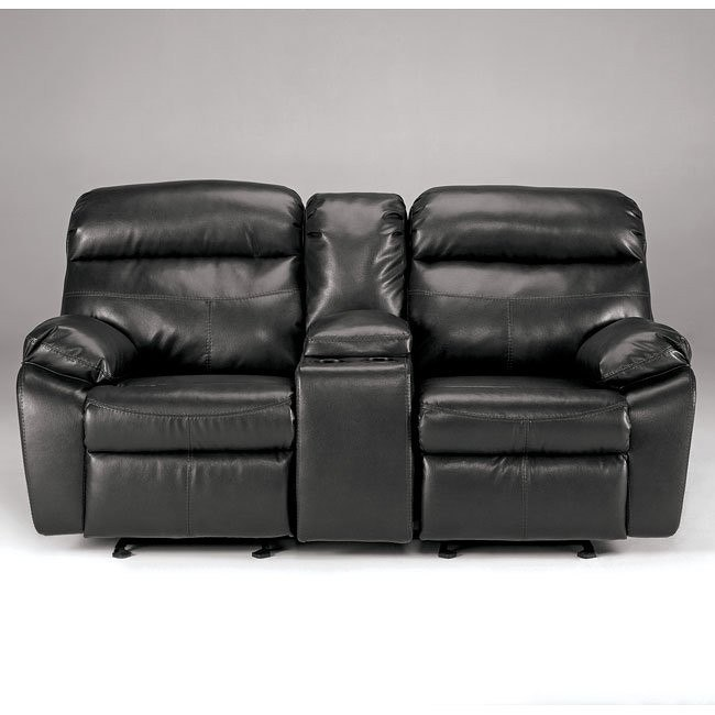 Sander Durablend - Charcoal Double Reclining Loveseat w/ Console