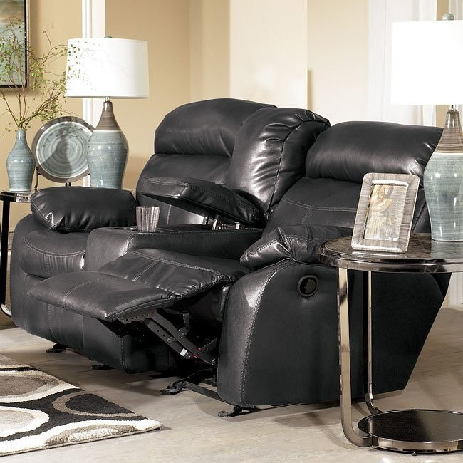 Sander Durablend - Charcoal Double Reclining Loveseat w/ Console & Power