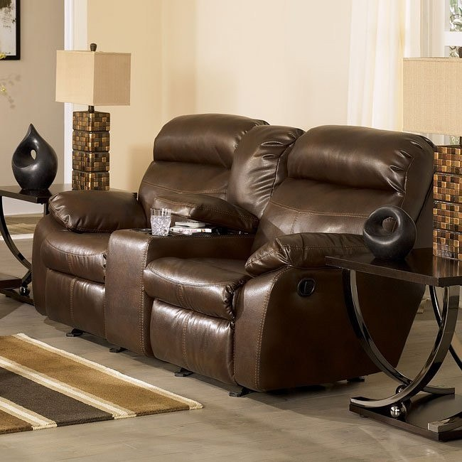 Sander Durablend - Coffee Double Reclining Loveseat w/ Console
