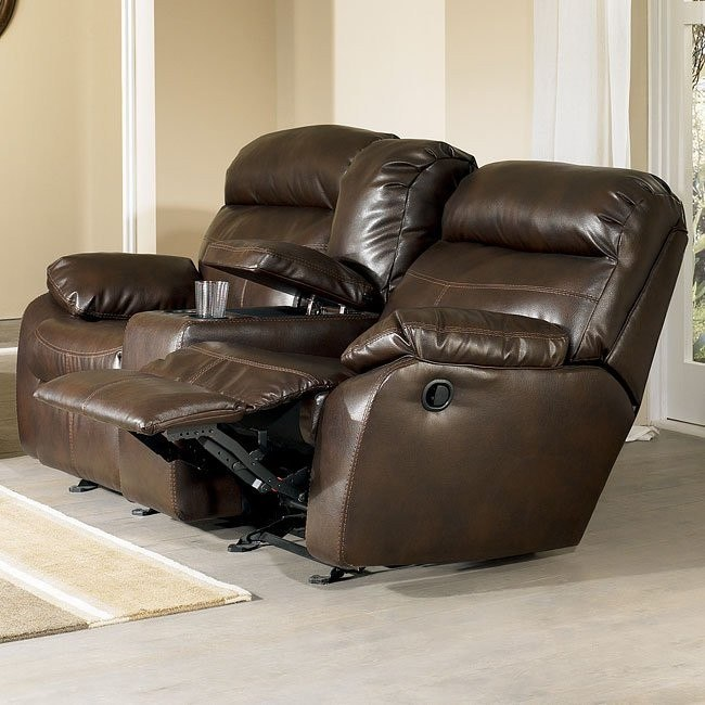 Sander Durablend - Coffee Double Reclining Loveseat w/ Console & Power