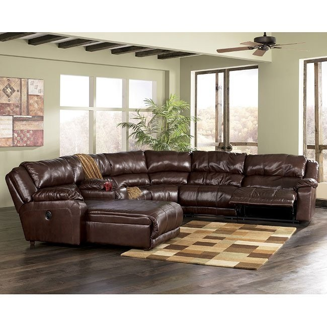 Braxton - Java Left Facing Chaise 6-Piece Sectional