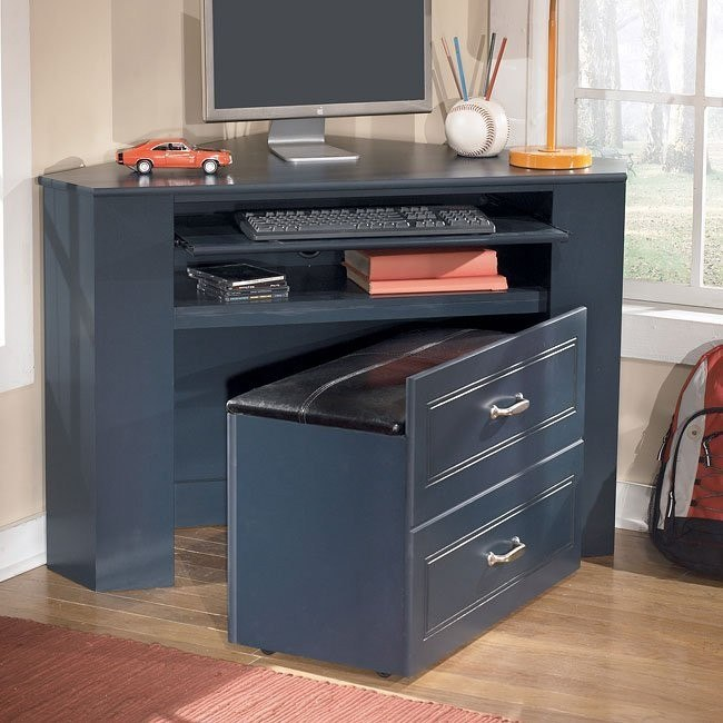 Leo Corner Desk Media Unit w/ Stool