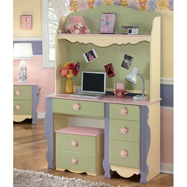 Doll House Youth Desk w/ Hutch and Rolling Box
