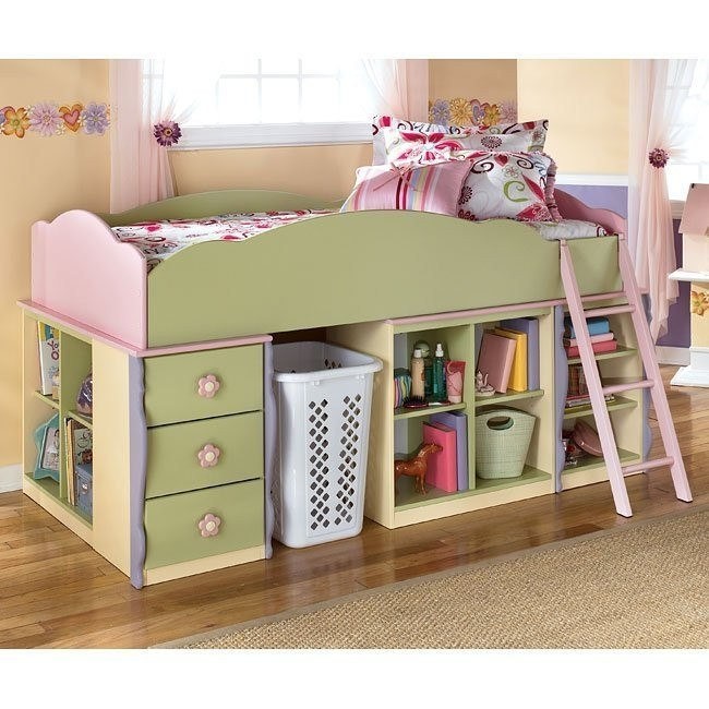 Doll House Open Space Loft Bed w/ Drawers and Open Shelves