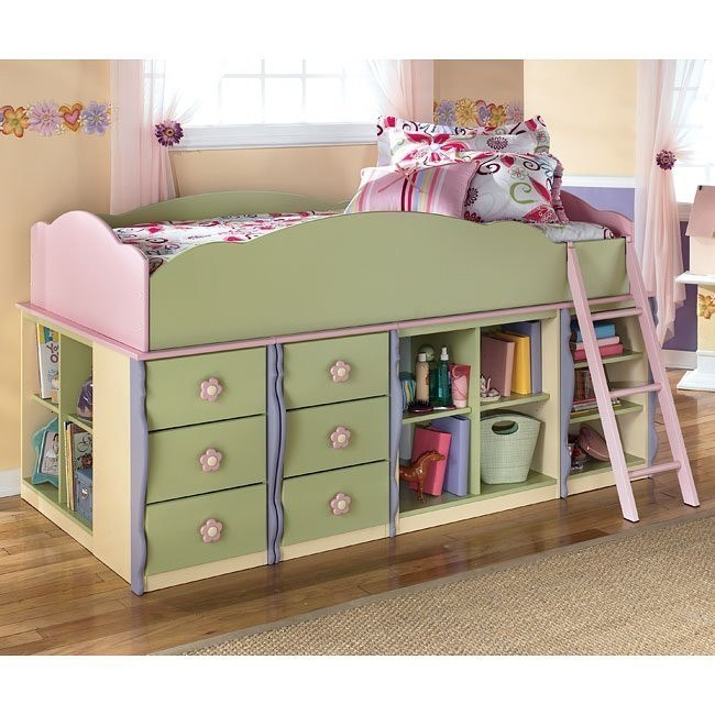 Doll House Open Shelves Loft Bed w/ 6 Drawers
