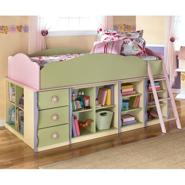 Doll House Open Shelves Loft Bed w/ 3 Drawers