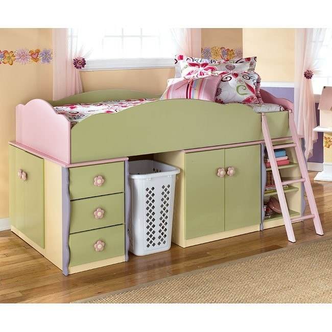 Doll House Open Space Loft Bed w/ Drawers and Door Storage