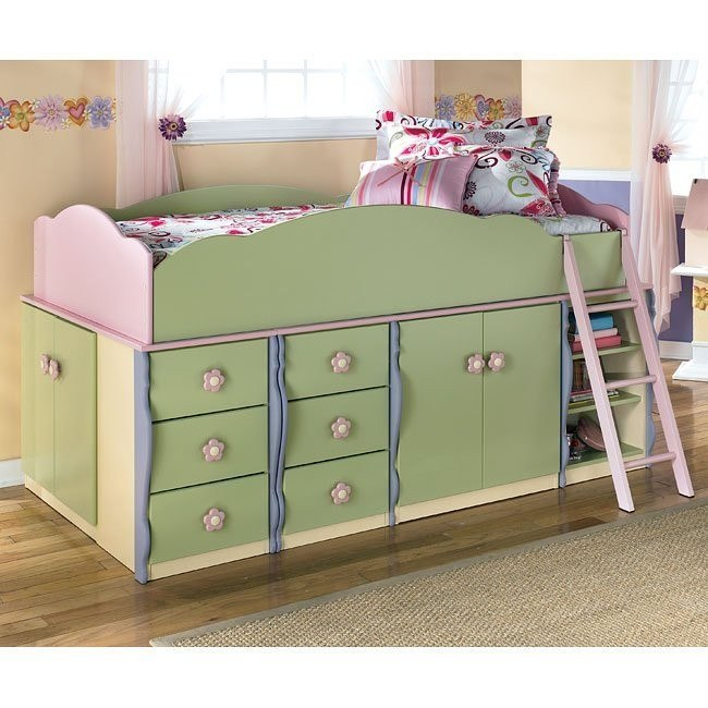 Doll House Door Storage Loft Bed w/ 6 Drawers and Shelves