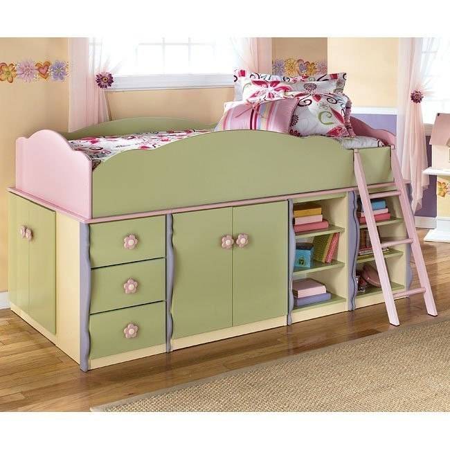 Doll House Door Storage Loft Bed w/ 3 Drawers and Shelves