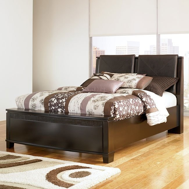 Emory Black Upholstered Storage Bed