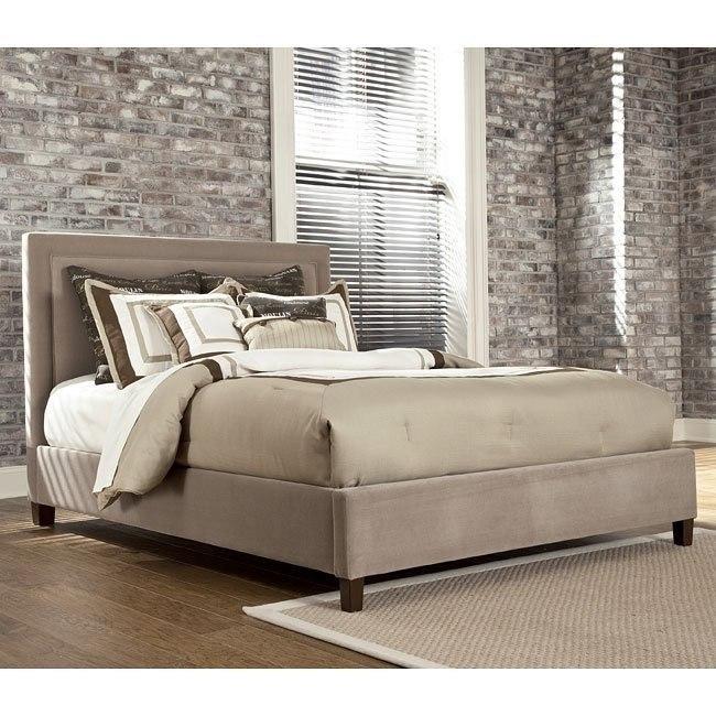 Beige Upholstered Bed