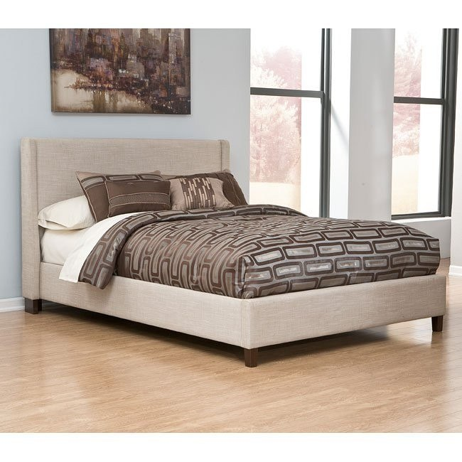 Light Beige Upholstered Bed