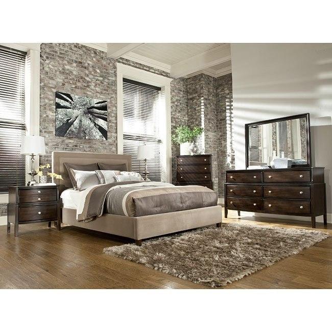 Naomi Bedroom Set w/ Beige Upholstered Bed