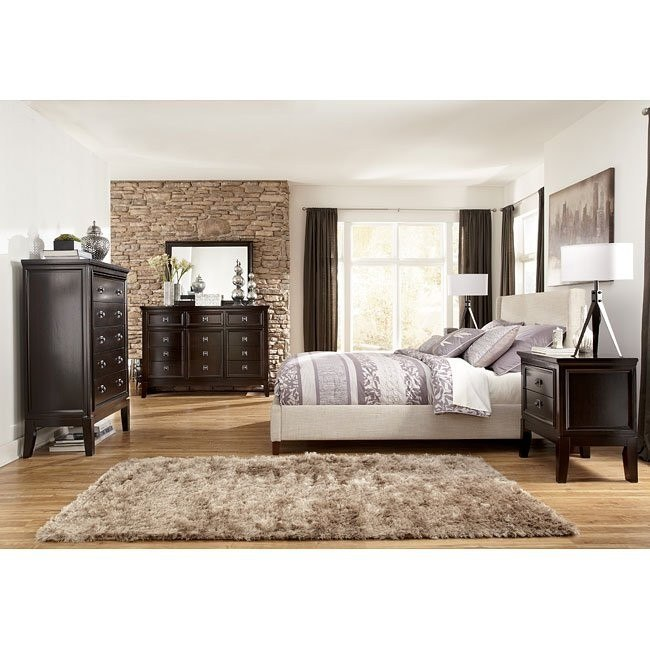 Martini Suite Bedroom Set W Light Beige Upholstered Bed By Signature Design By Ashley