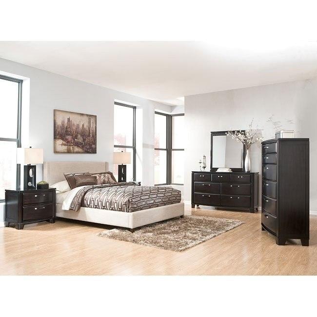 Emory Bedroom Set w/ Light Beige Upholstered Bed