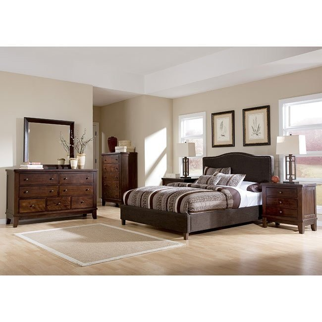 Holloway Bedroom Set w/ Brown Upholstered Bed