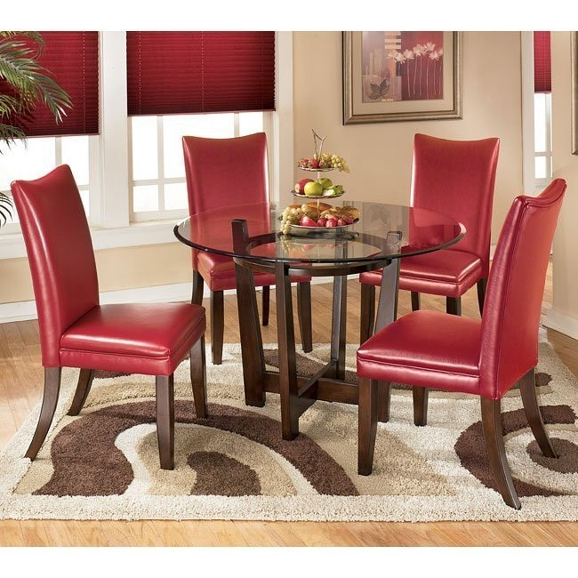 Charrell Round Dinette with Red Chairs