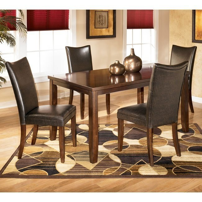 Charrell Rectangular Dining Room Set with Brown Chairs