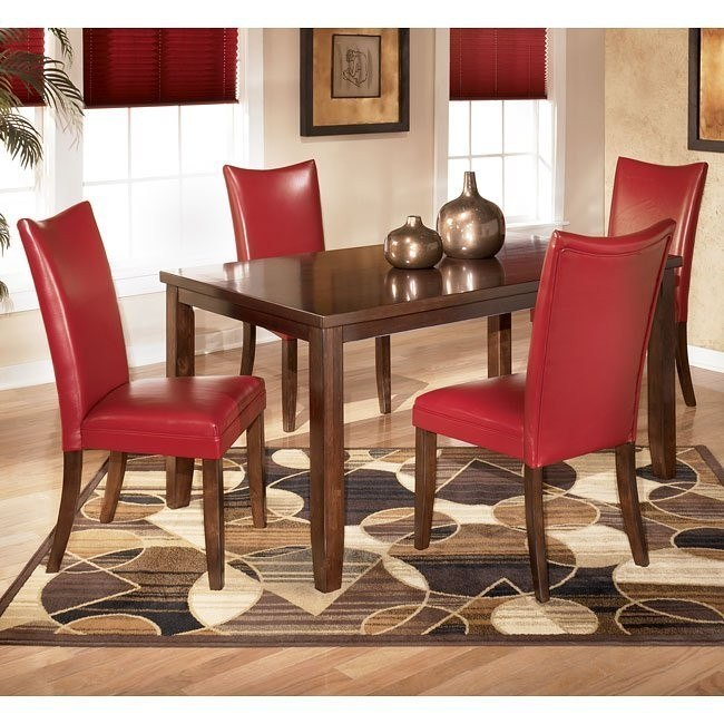 Charrell Rectangular Dining Room Set with Red Chairs