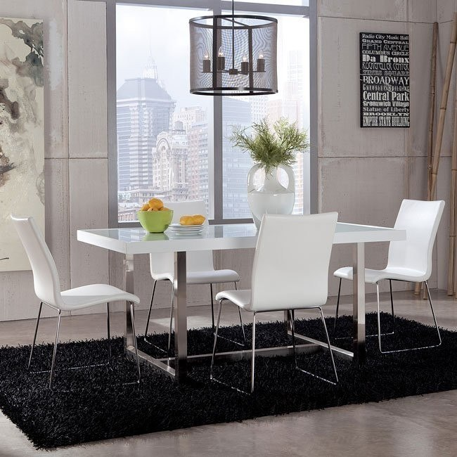 Baraga Dining Room Set w/ White Daryl Chairs