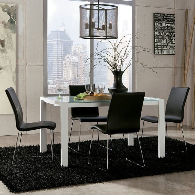 Martina Dining Room Set w/ Black Daryl Chairs