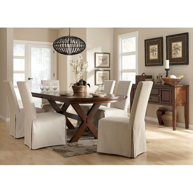 Burkesville Dining Room Set W/ Flax Slipcover Chairs By