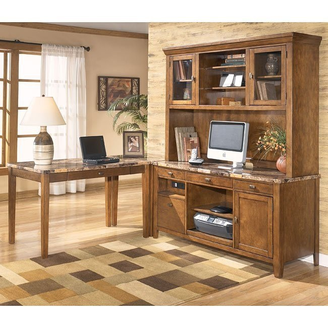 Theo Corner Home Office Set w/ Large Hutch Credenza