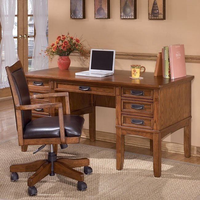 Cross Island Home Office Set w/ Storage Leg Desk