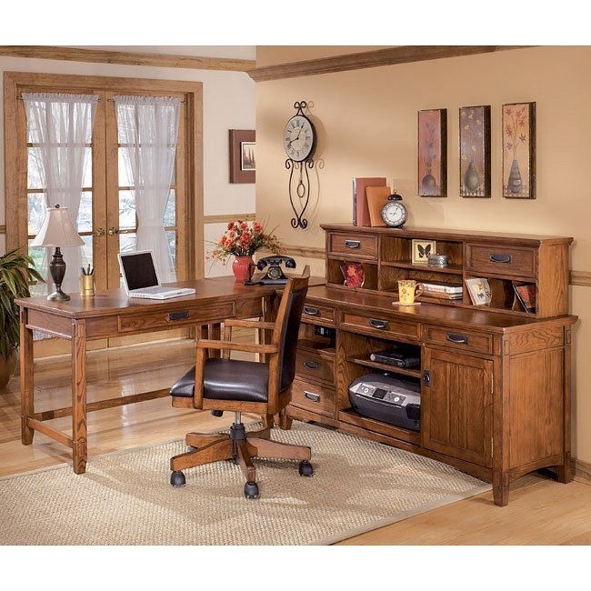 Cross Island Corner Home Office Set w/ Low Hutch and Credenza