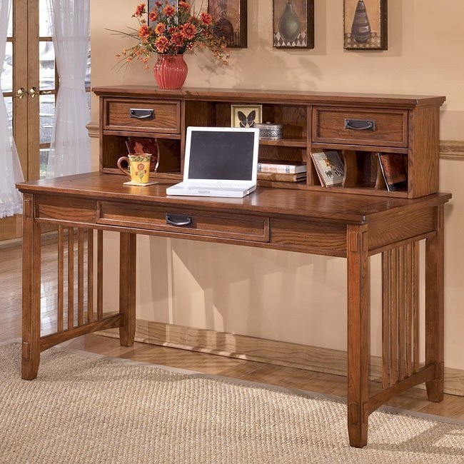 Cross Island Large Leg Desk w/ Large Low Hutch