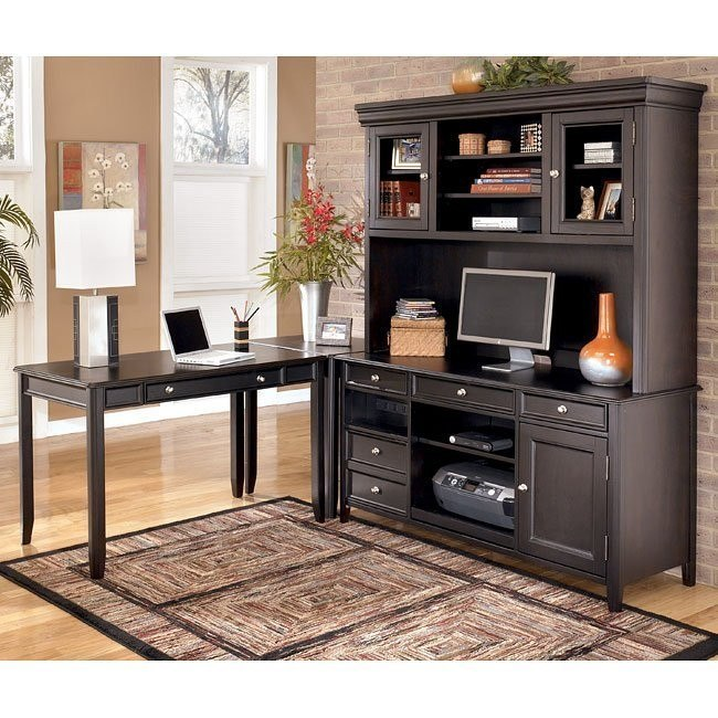Carlyle Corner Home Office Set w/ Large Hutch Credenza
