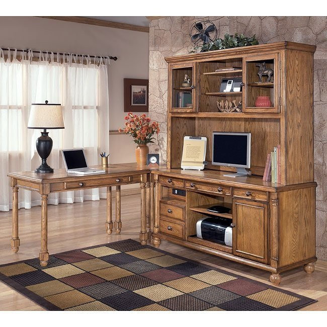 Holfield Leg Desk Home Office Set w/ Large Hutch Credenza
