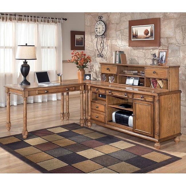 Holfield Leg Desk Home Office Set w/ Low Hutch Credenza