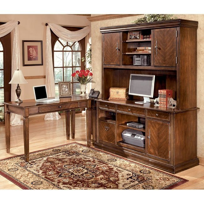 Hamlyn Leg Desk Home Office Set w/ Large Hutch Credenza