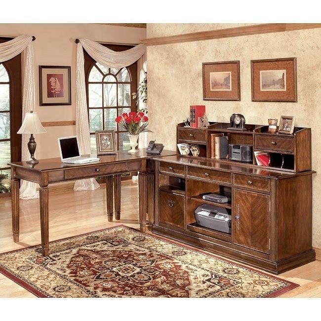 Hamlyn Leg Desk Home Office Set w/ Low Hutch Credenza