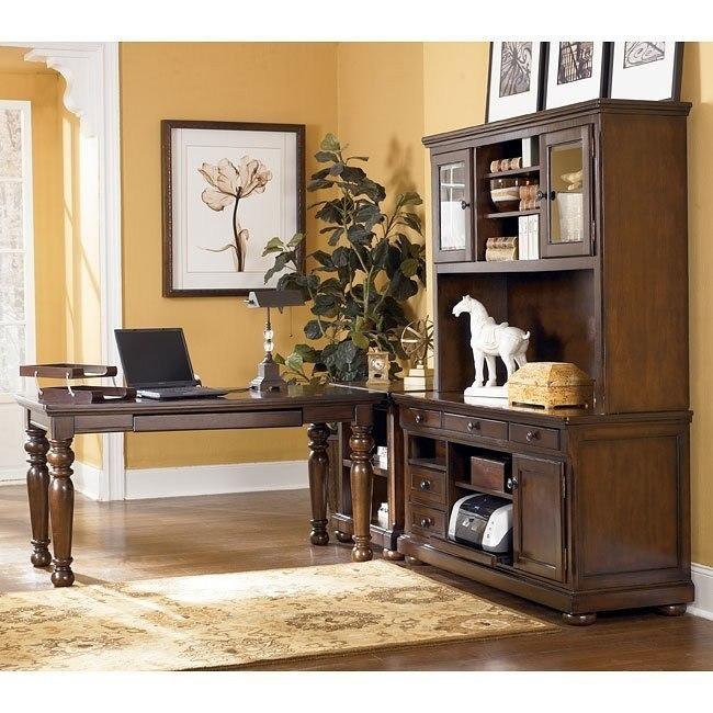 Porter Leg Desk Home Office Set w/ Large Hutch Credenza