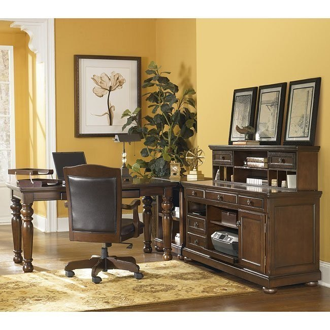 Porter Leg Desk Home Office Set w/ Low Hutch Credenza