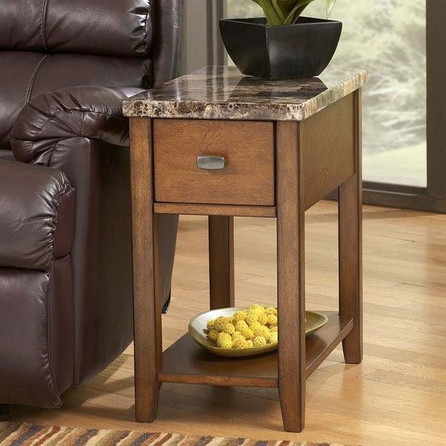 Faux Marble Top Chairside End Table