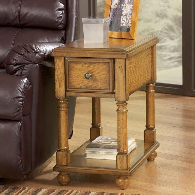 Oak Chairside End Table