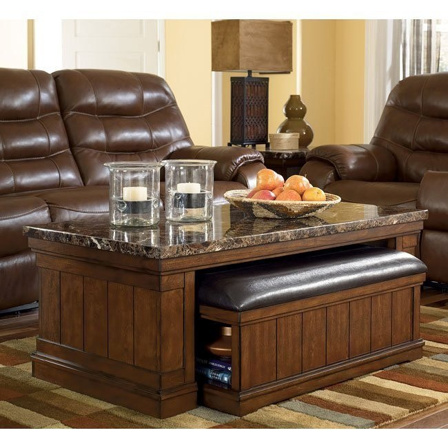 Merihill Rectangular Cocktail Table w/ Ottoman
