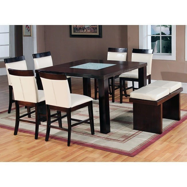Modern Counter Height Dining Set w/ Bench