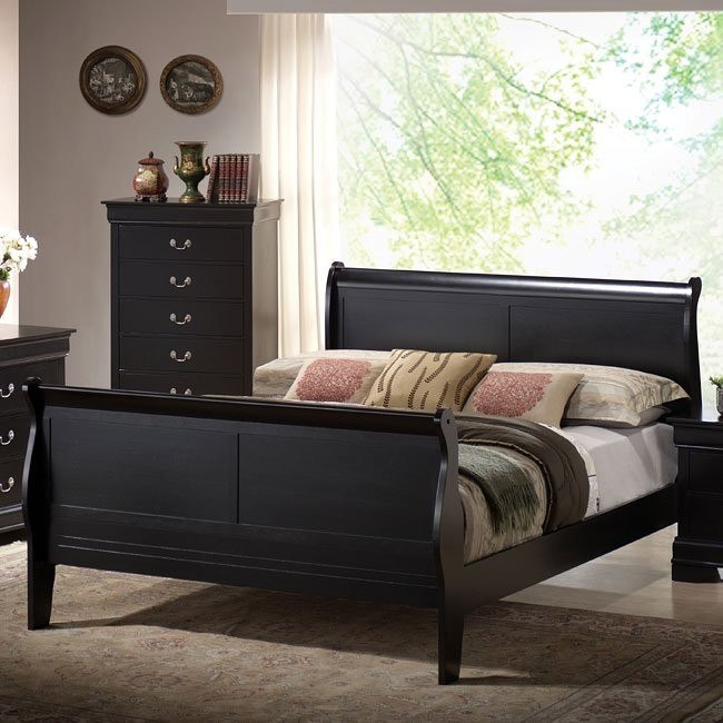 Louis Phillipe Sleigh Bed (Black)