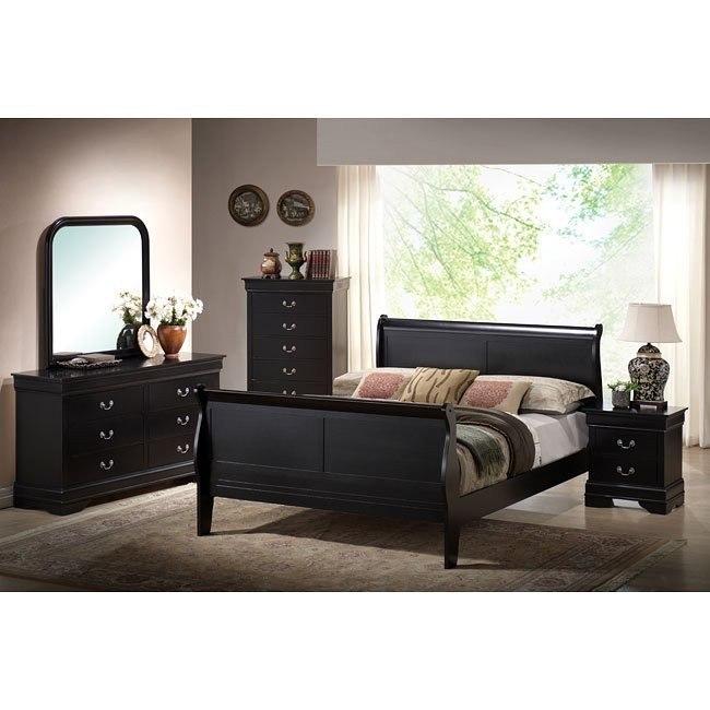 Louis Phillipe Sleigh Bedroom Set (Black)
